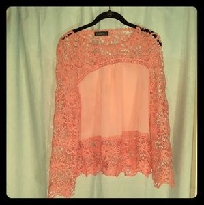 Gamiss Pink Floral Pattern Lace Blouse with Tags
